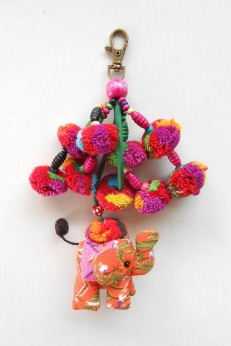 Orange Elephant & Colorful Pom Poms Key chain Zip Pull Bag Accessory Decoration by Handmade. (AC1004-OR)
