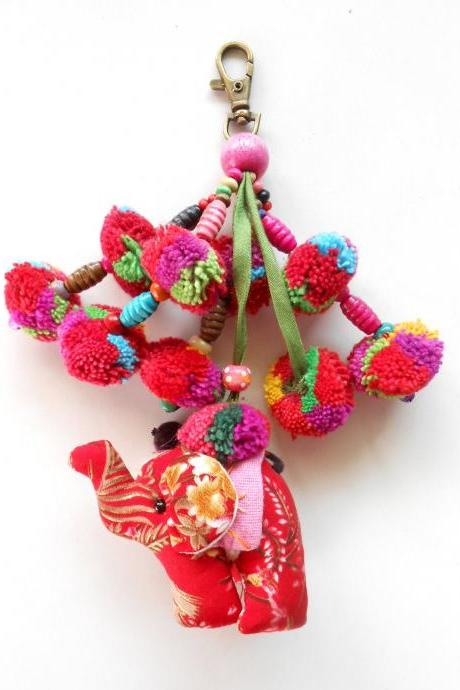 Red Elephant & Colorful Pom Poms Key chain Zip Pull Bag Accessory Decoration by Handmade. (AC1004-RE)
