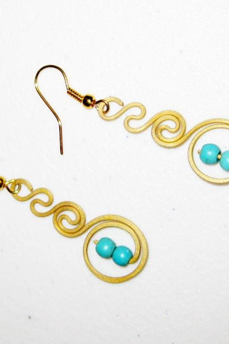 Swirl Brass Earrings, Brass Dangle Earrings with Turquoise Beads, Fashion Designs, Thailand Handmade Jewelry. (JE1015-TU)
