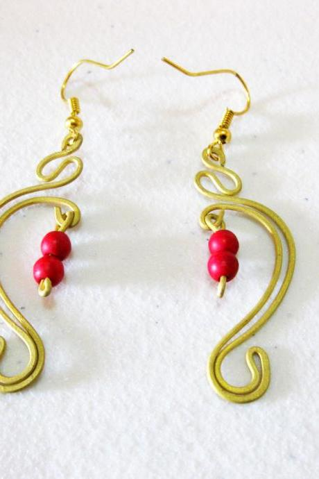 Swirl Brass Earrings, Brass Dangle Earrings with Red Stones Beads, Fashion Designs, Thailand Handmade Jewelry. JE1016-RE