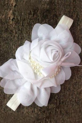 White Headbands Rose Wedding Accessories for Girls and For All Ages-White Hair Accessories,White Newborn Props