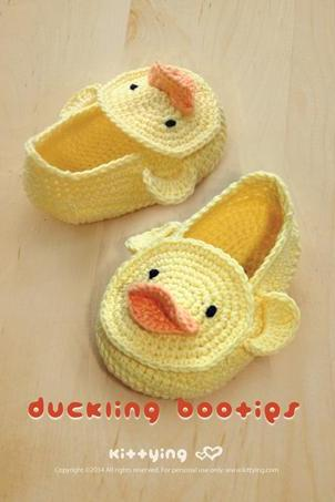 Duck Duckling Baby Booties Crochet PATTERN, Chart & Written Pattern