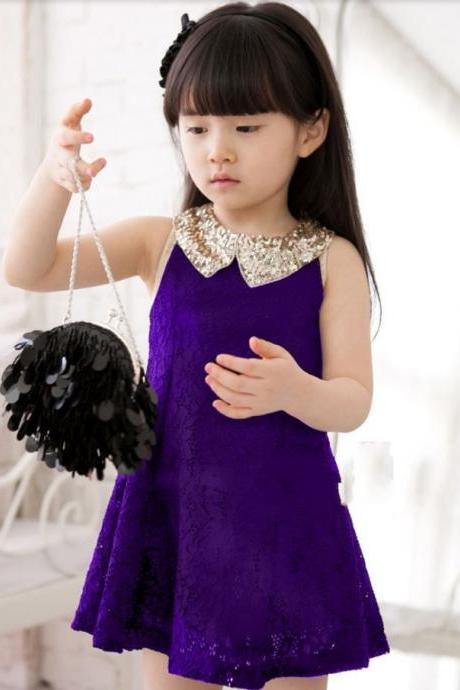 Purple Dress for Little Girls with Golden Peter Pan Collar-Party Dress,Wedding Dress for Flower Girls,Formal Wear