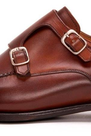 MENS LEATHER SHOES, HANDMADE LEATHER SHOES, BROWN COLOR BUCKLE SHOES