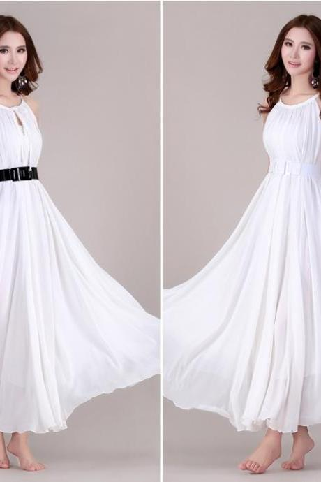 Prom Dress White Flowy Maxi Dresses