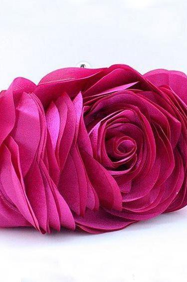 Hot Pink Clutch for Elegant Women-Big Rose Clutch-Pink Flower Big Roses Purses