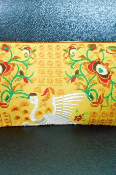 Yellow Flamingo embroidered Clutch Bag, w/ Yellow Fabric Chinese Hmong Hilltribe Handmade in Thailand. (KP1056-GOYE)