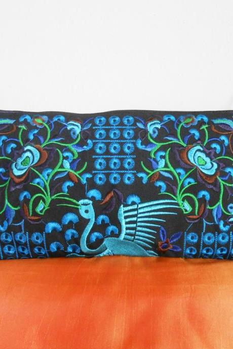 Blue Flamingo embroidered Clutch Bag, w/ Black Fabric Chinese Hmong Hilltribe Handmade in Thailand. (KP1056-BLBK)
