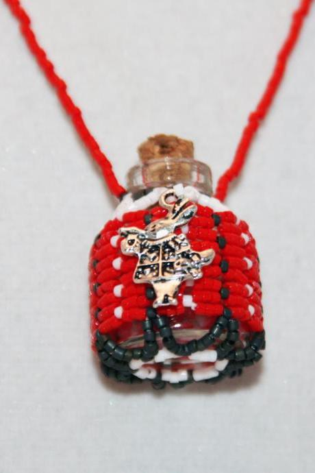 Necklace Beaded Bottle in Red, Gray, and White with a White Rabbit Charm. Alice in Wonderland Tribute