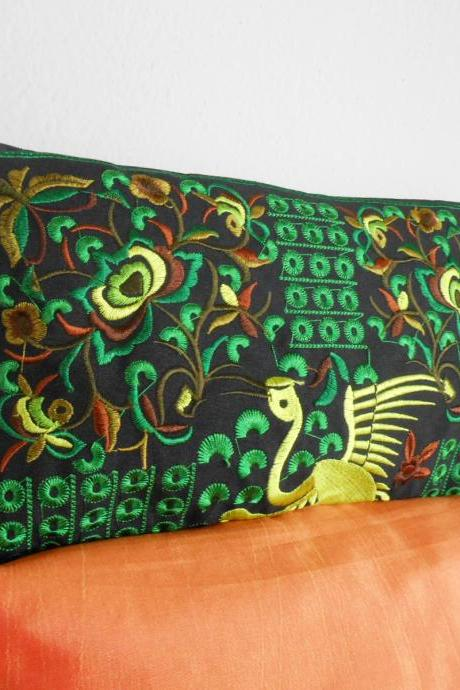 Green Flamingo embroidered Clutch Bag, w/ Black Fabric Chinese Hmong Hilltribe Handmade in Thailand. (KP1056-GRBK)