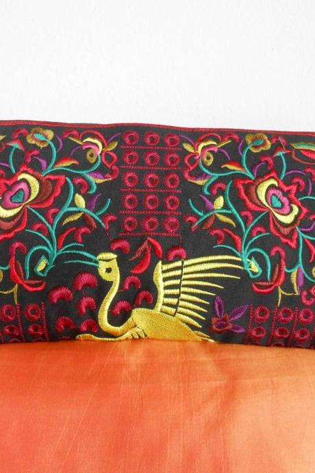 Red Flamingo embroidered Clutch Bag, w/ Black Fabric Chinese Hmong Hilltribe Handmade in Thailand. (KP1056-REBK)