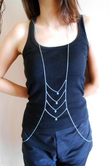 Delicate Body Chains, Turquoise Bead Stone, Celebrity Inspired Body Jewelry, Handmade. (JC1004)
