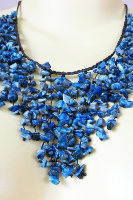 Luxurious Chandelier Necklace Stone with Wax Thread, Adjustable Size, Thailand Handmade Jewelry. (JN1009-BL)