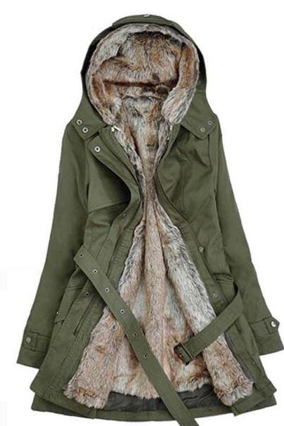 Rsslyn Double Layer Cotton Duck Down Parka Coats and Jackets for Women Ready to Ship Green Down Parka Jackets
