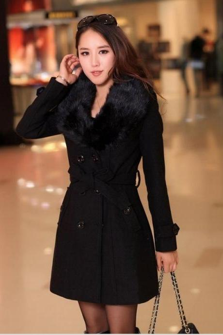 Elegant Fur Collar Double Breasted Long Coat