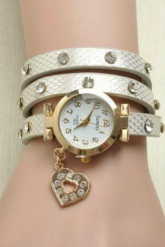 Love me heart rhinestones white band woman watch