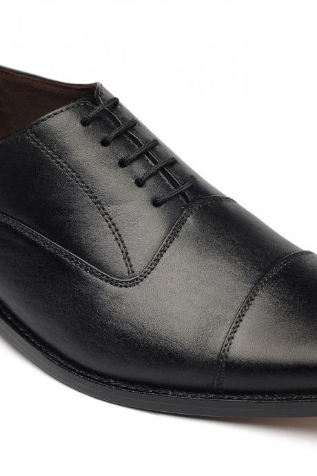 HANDMADE BLACK COLOR SHOES, MEN'S BLACK DRESS SHOES, MEN REAL LEATHER SHOES
