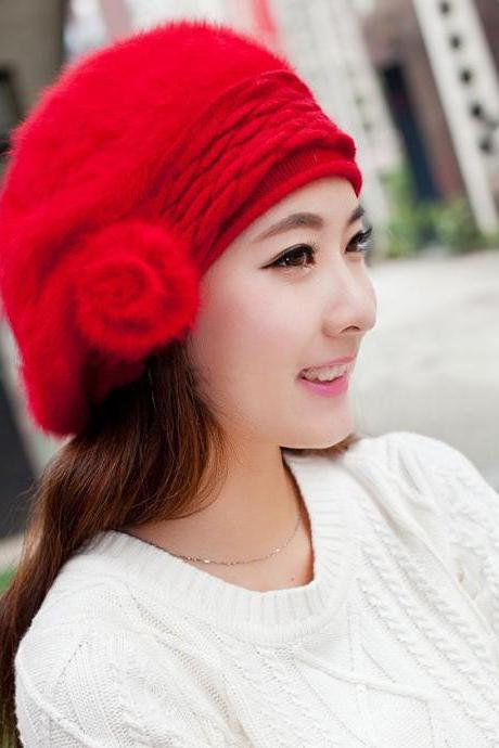 Red Beanie Rabbit Fur Wool Hat for Women with Flower Decoration
