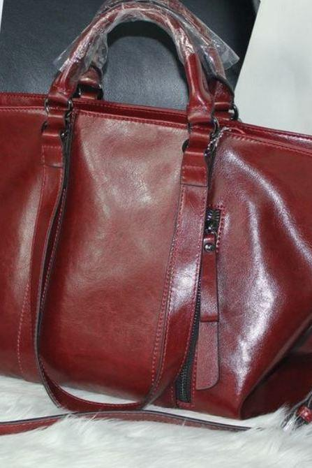 Red Motorcycle Bag Real Genuine Leather