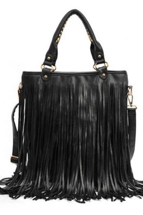 Free Shipping Black Fringe Tassel Fringe Leather Bags