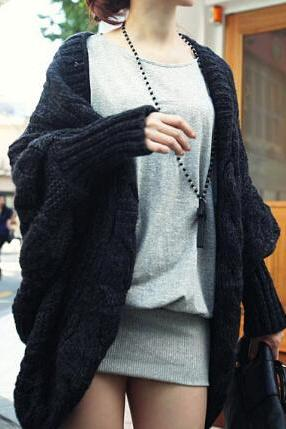 Fashion loose bat sleeve knit sweater coat AX091205ax