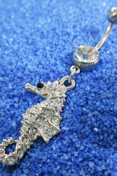 Cute Sea horse belly rings navel ring bar button body piercing jewelry