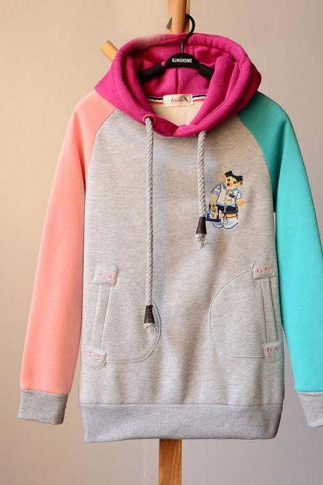 Fashion Embroidery cartoon double pocket hoodie top trend sweaters