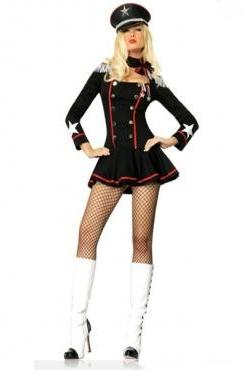 Cheap Sexy Patchwork Black Polyester Police Cosplay Costume(Headwear+Dress)