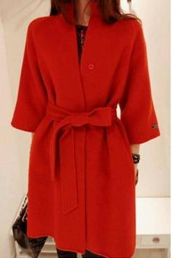 Cheap New Fashion Style Mandarin Collar Long Sleeve Red Long Wool Coat