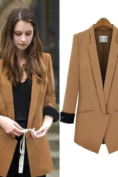 Cheap New Style Long Sleeves Solid Light Tan Polyester Long Blazer