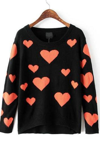 Heart Print Round Neck Long Sleeve Woman Sweater , Pullovers