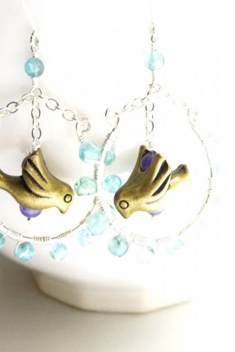 Wire Wrapped Earrings in Sterling Silver and Gold Filled with Brass Bird Charm and Apatite and Amethyst Beads