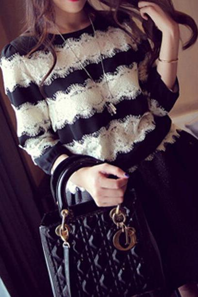 Wild striped chiffon shirt lace stitching QW912DB