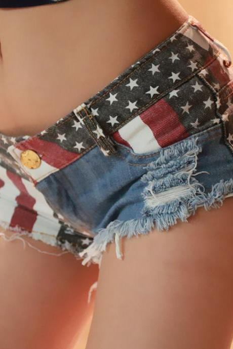 Fashion Sexy Nightclub Spice Modern Flag Splicing Low-Rise Jeans Shorts