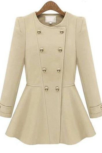 Fashion Round Neck Double Breasted Woman Coat - Beige