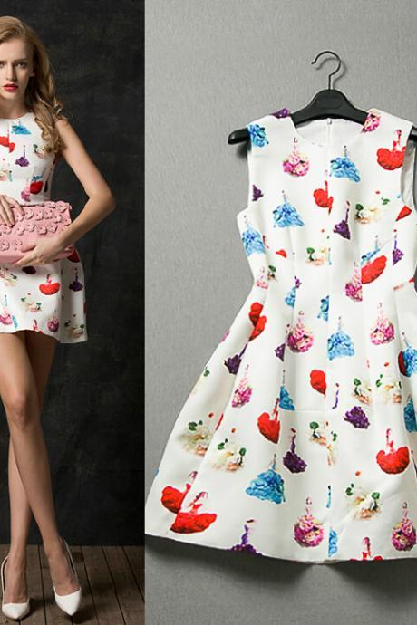 Fashion Sleeveless Printed Dress QW912DE
