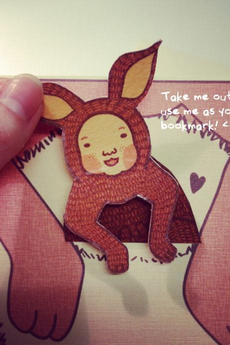 Mother's Day Red Kangaroo Joey Card / Bookmark 'I'm thankful to be your Joey'