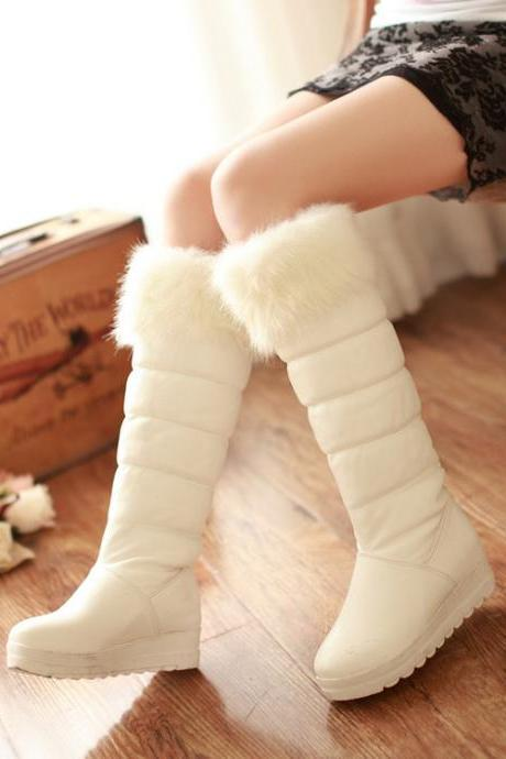 Winter Round Toe Chunky High Heel Zipper Knee High Rhinestone White PU Martens Boots