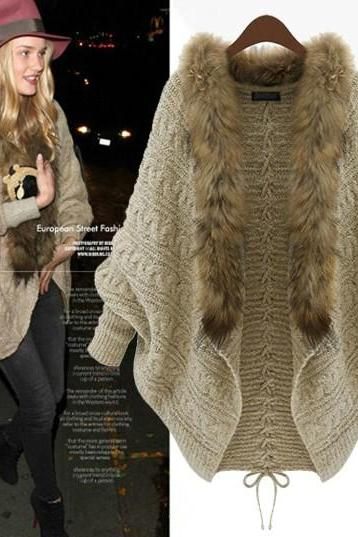 Cheap New Style Fur Collar Long Bat Sleeves Apricot Regular Knitting Cardigan Sweater