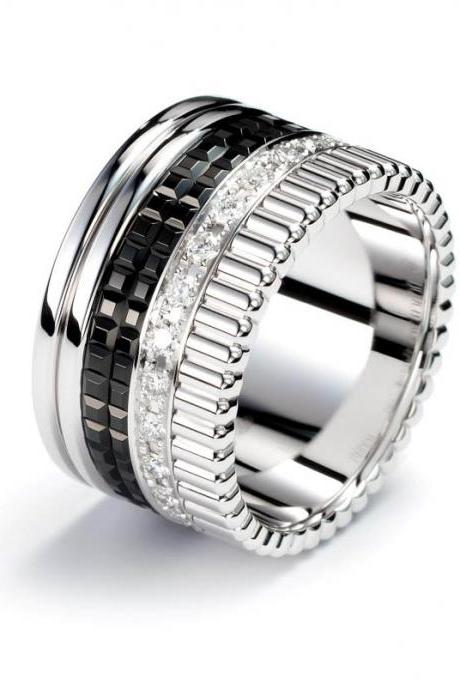 Luxury Stainless Steel Black Ring Band - available sz 6 - 9