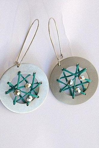 Dreamcatcher Earrings Summer Teal Round Playful Dazzling Gift For Her