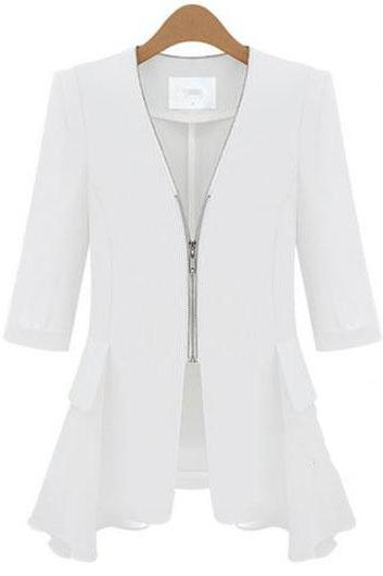 Fashion V Neck Half Sleeve Coat for Woman - White