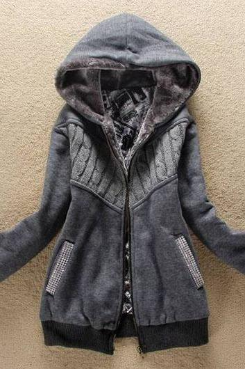 Fashion New Arrival Hooded Collar Woman Coat with Zip - Grey