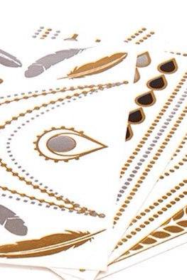 Rouelle ELLEtatts ANY 6 SIX SHEETS Metallic Tattoos, flash tattoos, gold tattoos, silver tattoos, temporary tattoos, jewelry tattoos.