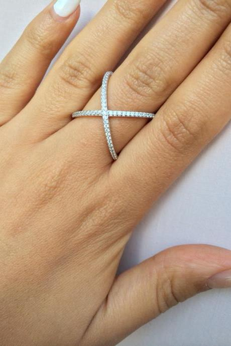 Rouelle PIXIE X ring, sterling silver and cubic zirconia X Ring