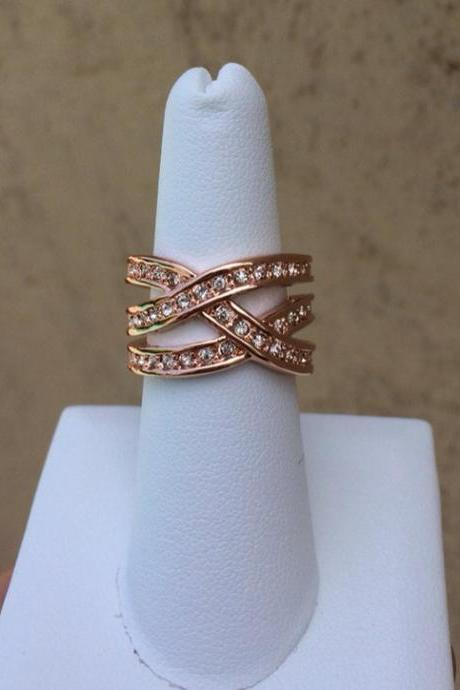 Rouelle CHLOE ring, Rose Gold Plated and Crystal Ring