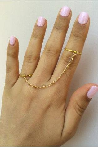 Rouelle TALIA Double Connected Knuckle Rings with Dainty Delicate Chain: Gold Above the Knuckle Rings, Midi Rings