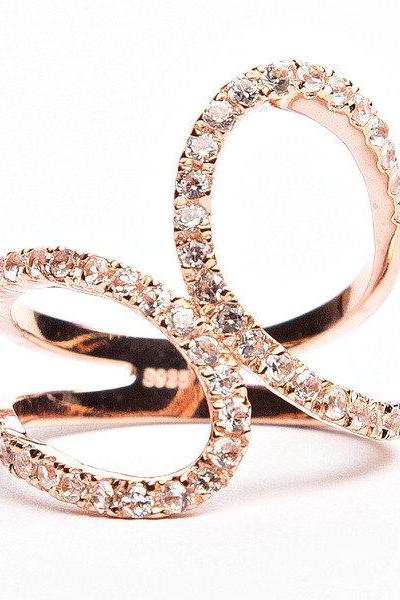 Rouelle SPUNK ring, Rose Gold Plated and Crystal Ring.