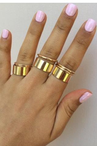 Rouelle NAZ Cuff & Knuckle Rings: Set of 9 Dainty, Beautiful Gold Cuff and Knuckle Rings