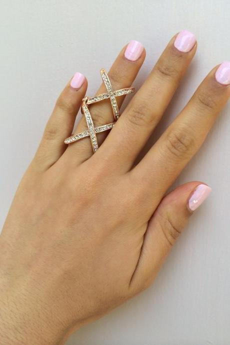 Rouelle DOUBLE X ring, Rose Gold Plated and Crystal X Ring